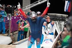 17.02.2014, Krasnaya Polyana, Sliding Center Sanki, RUS, Sochi, 2014, Bob Herren, im Bild Alexander Zubkov (RUS) // during Mens Bob the Olympic Winter Games Sochi 2014 at the Krasnaya Polyana in Sliding Center Sanki, Russia on 2014/02/17. EXPA Pictures © 2014, PhotoCredit: EXPA/ Freshfocus/ Michael Zanghellini<br /> <br /> *****ATTENTION - for AUT, SLO, CRO, SRB, BIH, MAZ only*****
