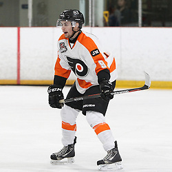 BURLINGTON, ON - SEP 9:  Liam Winslow #9 of the Orangeville Flyers follow the play in the first period during the OJHL regular season game between the Orangeville Flyers and the Burlington Cougars. Orangeville Flyers and Burlington Cougars  on September 9, 2016 in Burlington, Ontario. (Photo by Tim Bates / OJHL Images)