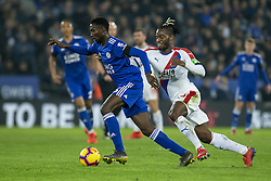February 23, 2019 - Leicester, England, United Kingdom - Wilfred Ndidi of Leicester City under pressure from Michy Batshuayi of Crystal Palace  during the Premier League match between Leicester City and Crystal Palace at the King Power Stadium, Leicester on Saturday 23rd February 2019. (Credit Image: © Mi News/NurPhoto via ZUMA Press)