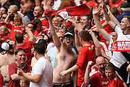 Barnsley fans celebrate their team scoring during the Sky Bet League 1 Play-off Final between Barnsley and Millwall at Wembley Stadium, London<br /> Picture by Richard Blaxall/Focus Images Ltd +44 7853 364624<br /> 29/05/2016