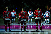 KELOWNA, CANADA - APRIL 14: Joachim Blichfeld #20, Alex Overhardt #17 and Henri Jokiharju #16 of the Portland Winterhawks line up against the Kelowna Rockets on April 14, 2017 at Prospera Place in Kelowna, British Columbia, Canada.  (Photo by Marissa Baecker/Shoot the Breeze)  *** Local Caption ***