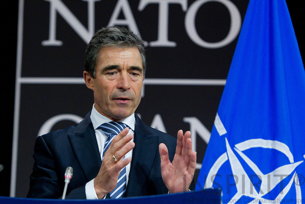 NATO Secretary General Anders Fogh Rasmussen briefing the press after the defence ministers meeting ended at the alliance headquarters in Brussels October 6, 2011. PHOTO: ERIK LUNTANG / INSPIRIT Photo.