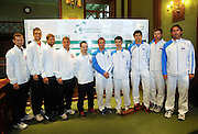 Wroclaw 31/01/2013.Davis Cup .Poland vs Slovenia.Team picture of Slovenian and Polish team..Photo by : Piotr Hawalej