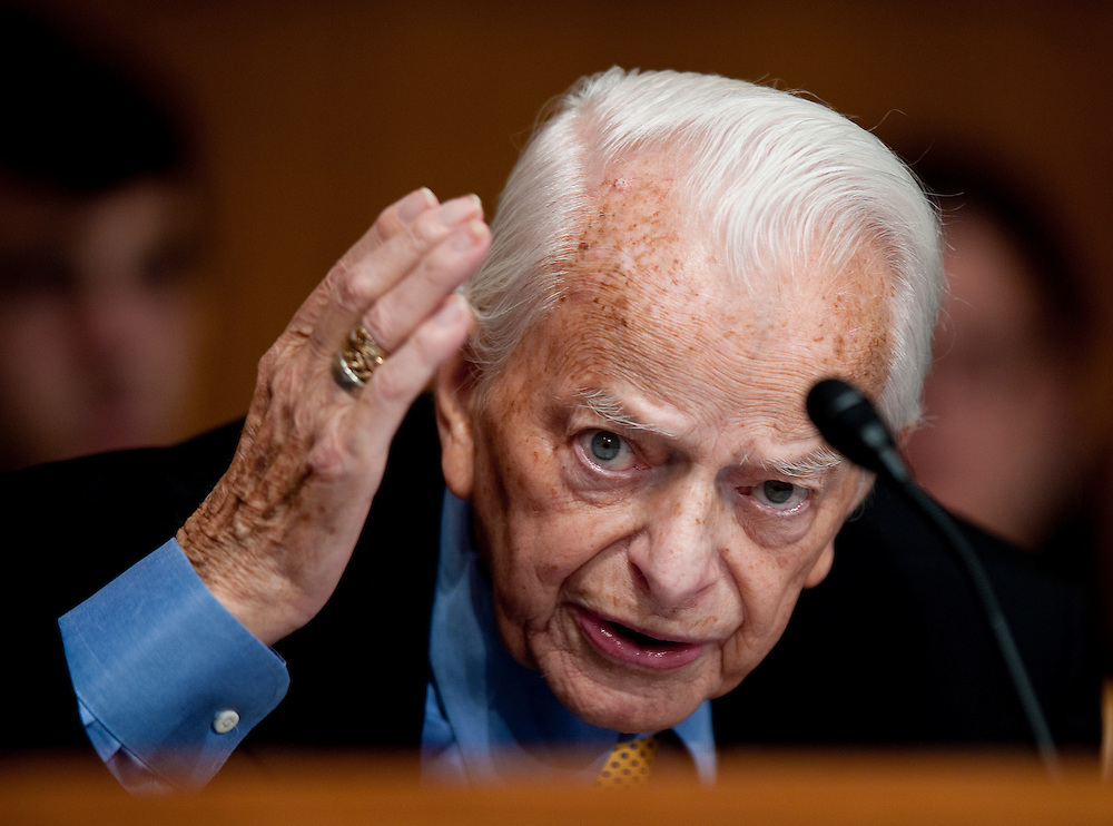 May 20, 2010 - Washington, District of Columbia, U.S., - Robert C. Byrd grills witnesses about the accident at the Upper Big Branch mine in his home state of West Virginia during a Senate Appropriations Committee hearing on Mine Safety Investment on Thursday.(Credit Image: © Pete Marovich/ZUMA Press)