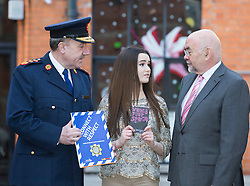 Repro Free: 04/02/2013.Martin Callinan, Garda Commissioner is pictured with young Fair City actor Niamh Quirke, (16), (aka Rachel Brennan) and  Ruairí Quinn TD, Minister for Education and Skills at an event to mark Safer Internet Day and to launch A new cyber bullying report. Safer Internet Day 2013 marks the launch of two new initiatives for 2013 - The 'Watch your Space' public awareness anti cyber-bullying campaign and a new Garda Primary Schools Programme module 'Connect with Respect', which deals with online bullying. For further information visit, www.watchyourspace.ie. Picture Andres Poveda