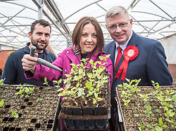 Scottish Labour leader Kezia Dugdale visits Alba Trees in Gladsmuir, East Lothian with local candidate Martin Whitfield as part of the General Election campaign. They are pictured with worker Craig Shearer.<br /> <br /> &copy; Dave Johnston/ EEm