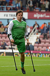 A disabled footballer representing London Amps a London based amputee football club in action as part of the half time entertainment - Photo mandatory by-line: Mitch Gunn/JMP - Tel: Mobile: 07966 386802 21/09/2013 - SPORT - FOOTBALL - Boleyn Ground - London - West Ham United V Everton - Barclays Premier League