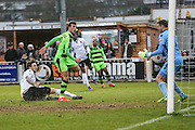 Forest Green Rovers Christian Doidge(9) shoots at goal, goalkeeper makes a save during the Vanarama National League match between Bromley FC and Forest Green Rovers at Hayes Lane, Bromley, United Kingdom on 7 January 2017. Photo by Shane Healey.