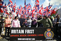 © Licensed to London News Pictures . 22/07/2017. Rochdale, UK. Britain First hold a demonstration in Rochdale , opposed by anti-fascist groups . Britain First say they are highlighting concerns about child sexual exploitation in the town . Photo credit: Joel Goodman/LNP