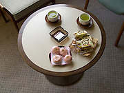 green tea served with various traditional Japanese sweets