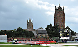 General view as rain forces an early lunch on day one at Taunton. - Photo mandatory by-line: Harry Trump/JMP - Mobile: 07966 386802 - 05/07/15 - SPORT - CRICKET - LVCC - County Championship Division One - Somerset v Sussex- The County Ground, Taunton, England.