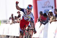 Arrival, KRISTOFF Alexander (NOR) Katusha, winner , during the Tour of Oman 2015, stage 3, Al Mussanah Sports City - Al Mussanah Sports City (158,5Km) on February 19, 2015. Photo Tim de Waele / DPPI