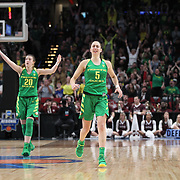 March 31, 2019; Portland, OR, USA;  Oregon Ducks guard Maite Cazorla (5) reacts after a making a three-point shot against the Mississippi State Bulldogs in the Elite Eight of the NCAA Women's Tournament at Moda Center.<br /> Photo by Jaime Valdez