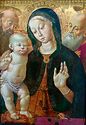 The Virgin and Child with two Saints about 1500. Oil on panel, Sienna, Italy.  Bernardino Fungai 1460-1516 approx.  The Virgin's dress and Christ's cushion are made of the most expensive silk.  The goldfinch on the parapet alludes to Christ's death.  The