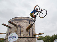 LONDON UK 30TH JULY 2016: Stunt Rider Andrei Burton performs one of three Guinness World Records.  The Prudential RideLondon FreeCycle event over closed roads around the city. Prudential RideLondon in London 30th July 2016.<br /> <br /> Photo: Jed Leicester/Silverhub for Prudential RideLondon<br /> <br /> Prudential RideLondon is the world's greatest festival of cycling, involving 95,000+ cyclists – from Olympic champions to a free family fun ride - riding in events over closed roads in London and Surrey over the weekend of 29th to 31st July 2016. <br /> <br /> See www.PrudentialRideLondon.co.uk for more.<br /> <br /> For further information: media@londonmarathonevents.co.uk