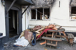 © Licensed to London News Pictures. 19/08/2015. Knottingley, UK. Picture shows the Bayhorse pub in Knottingley where two men wearing Scream masks went into the pub, which had people inside, and set fire to a liquid they had poured on the floor. Photo credit: Andrew McCaren/LNP