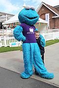 Chase from Paw Patrol with a young friend during the Newby and the Press Family Raceday at York Racecourse, York, United Kingdom on 9 September 2018. Picture by Mick Atkins.