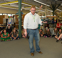 "Jake Drouin Manager of Global and Creative Production at IRobot brings out the ""First Look"" robot for 3rd and 5th graders at Woodland Heights Elementary School on Wednesday afternoon.  (Karen Bobotas/for the Laconia Daily Sun)"