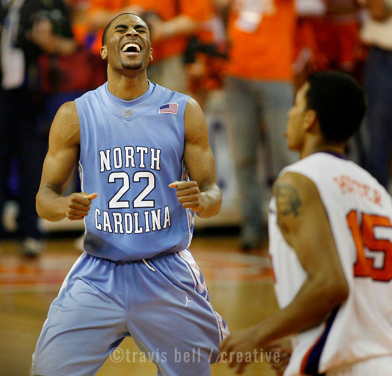 North Carolina's Wayne Ellington celebrates his game-winning shot during overtime action in Clemson, S.C. on Sunday, Jan. 6, 2008. (Travis Bell/Sideline Carolina)