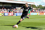 York City defender Keith Lowe during the Sky Bet League 2 match between Stevenage and York City at the Lamex Stadium, Stevenage, England on 12 September 2015. Photo by Simon Davies.