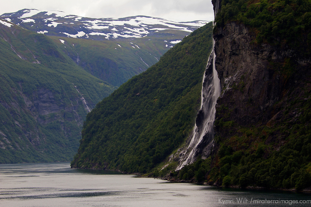 Europe, Norway, Geiranger. Bridal Veil Falls view from cruise.