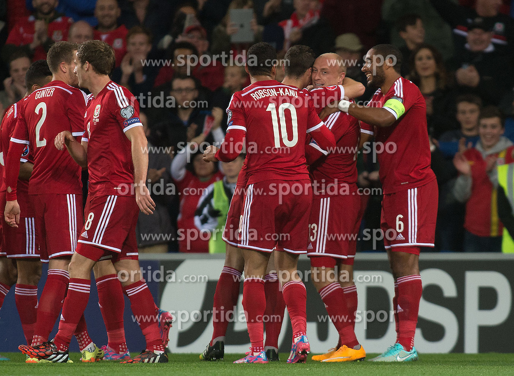 13.10.2014, City Stadium, Cardiff, WAL, UEFA Euro Qualifikation, Wales vs Zypern, Gruppe B, im Bild Wales David Cotterill celebrates scoring his sides first goal against Cyprus // 15054000 during the UEFA EURO 2016 Qualifier group B match between Wales and Cyprus at the City Stadium in Cardiff, Wales on 2014/10/13. EXPA Pictures &copy; 2014, PhotoCredit: EXPA/ Propagandaphoto/ Ian Cook<br /> <br /> *****ATTENTION - OUT of ENG, GBR*****