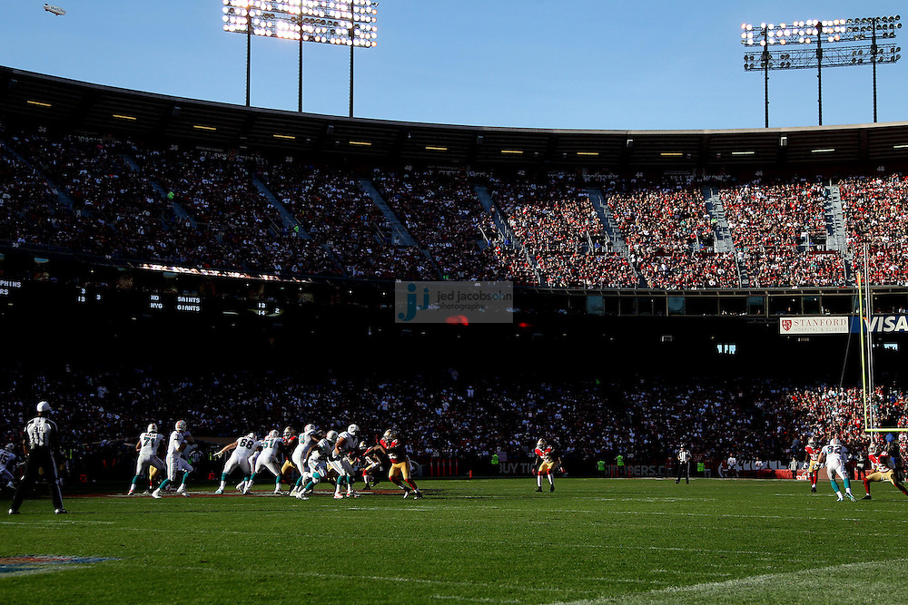 The Miami Dolphins against the San Francisco 49ers during an NFL game at Candlestick Park on December 9, 2012 in San Francisco, CA.  (Photo by Jed Jacobsohn)