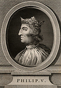 Philip V, the Tall (1293-1322) a member of the Capetian dynasty,  king of France from 1316. Copperplate engraving, 1793.