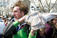 Apr, 2, 2011, Cambridge, Boston, Massachusetts, Massachusetts - A pillow fighter swings his weapon during World Pillow Fight Day. Photo by ©Lathan Goumas.