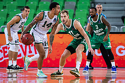 Dallas Moore of Nanterre 92 and Jaka Blazic of KK Cedevita Olimpija during EuroCup basketball match between teams KK Cedevita Olimpija and Nanterre 92 in Round 4, Arena Stozice, 23. October, Ljubljana, Slovenia. Photo by Grega Valancic / Sportida