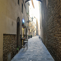 Side street in the historical district of Florence, Italy
