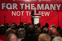 © Licensed to London News Pictures. 09/05/2017. Manchester, UK. Labour leader Jeremy Corbyn speaks to supporters and the media at a rally in Manchester to launch their general election election campaign. Photo credit : Ian Hinchliffe/LNP
