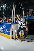 KELOWNA, CANADA - JANUARY 27: BC Hockey referees enter the ice at the Kelowna Rockets against the Kamloops Blazers on January 27, 2017 at Prospera Place in Kelowna, British Columbia, Canada.  (Photo by Marissa Baecker/Shoot the Breeze)  *** Local Caption ***