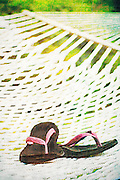 Pink flip flops on backyard hammock on a summer day with copy space vintage scratched style