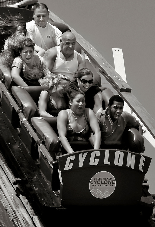 Laughing Terror. Coney Island, Brooklyn's Cyclone roller coaster.