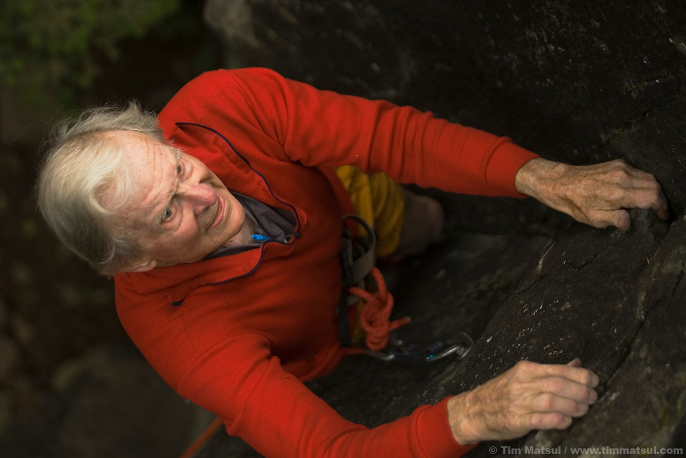 SEATTLE, WA - Stimson Bullitt, at age 86, climbing at the Far Side Wall, Exit 38, near Seattle, Washington, on September 19, 2005. Stimson Bullitt climbing at Exit 38 in Washington.