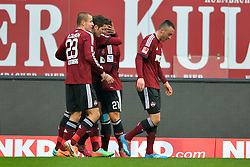 25.01.2014, easyCredit Stadion, Nuernberg, GER, 1. FBL, 1. FC Nuernberg vs TSG 1899 Hoffenheim, 18. Runde, im Bild Die Spieler des 1 FC Nuernberg bejubeln das Tor zum 1:0 durch Timothy Chandler (1 FC Nuernberg / verdeckt) // during the German Bundesliga 18th round match between 1. FC Nuernberg and TSG 1899 Hoffenheim at the easyCredit Stadion in Nuernberg, Germany on 2014/01/25. EXPA Pictures © 2014, PhotoCredit: EXPA/ Eibner-Pressefoto/ Merz<br /> <br /> *****ATTENTION - OUT of GER*****