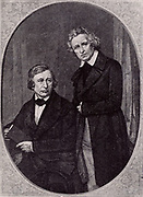 Wilhelm Carl Grimm (1786-1859) left, and Jacob Ludwig Carl Grimm (1786-1859) right, German philologists and folklorists.  The English speaking world knows them best for their fairy tales 'Kinder- und Hausmarchen' (1812-1815) published as 'German Popular Stories' (London, 1823) illustrated by George Cruikshank.