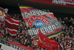 19.03.2016, Rhein Energie Stadion, Koeln, GER, 1. FBL, 1. FC Koeln vs FC Bayern Muenchen, 27. Runde, im Bild Fahne im Fanblock von Bayern Muenchen // during the German Bundesliga 27th round match between 1. FC Cologne and FC Bayern Munich at the Rhein Energie Stadion in Koeln, Germany on 2016/03/19. EXPA Pictures © 2016, PhotoCredit: EXPA/ Eibner-Pressefoto/ Schüler<br /> <br /> *****ATTENTION - OUT of GER*****