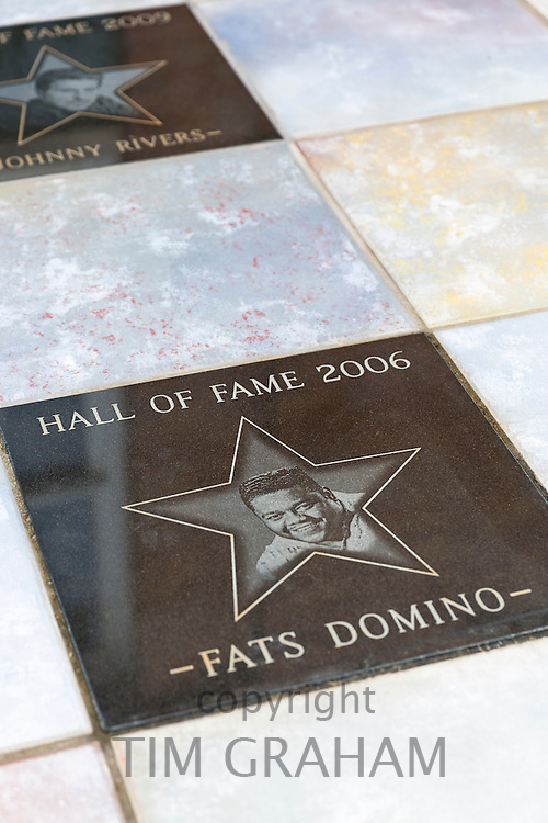 Walk of Fame on the The Blues Trail - plaques in tribute to Fats Domino and Johnny Rivers at Delta Music Museum, Ferriday, USA