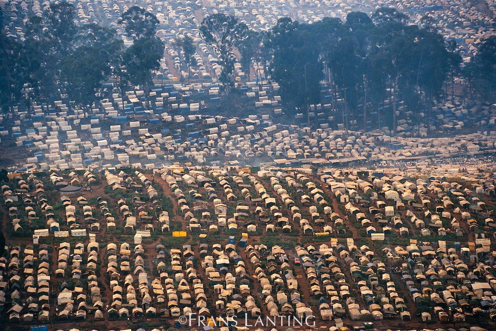 Refugee camp near Bukavu, (aerial), Congo (DRC)