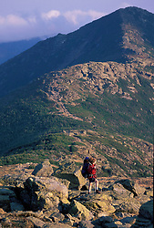 Hiking from Mt. Lafayette to Mt. Lincoln on the Franconia Ridge. Appalachian Trail.   White Mtns N.F., NH