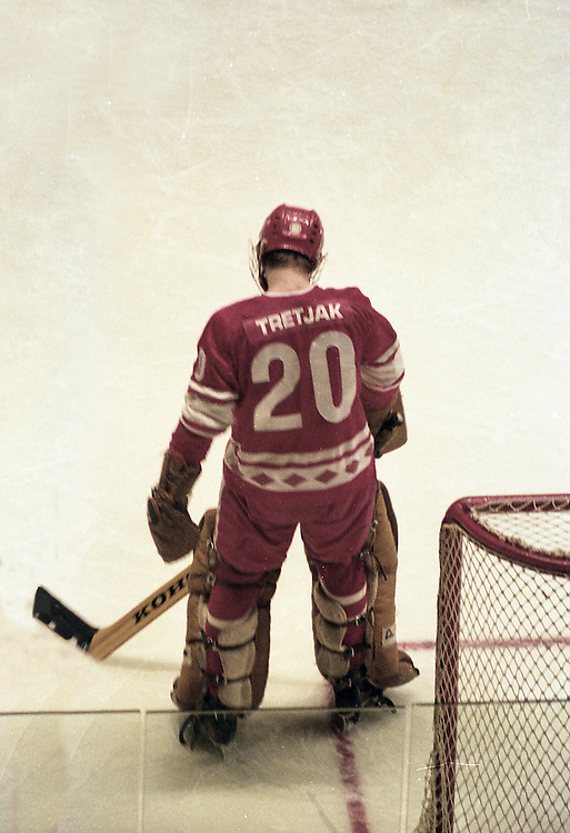 Taken at Madison Square Garden in 1979 at the U.S.S.R. versus NHL series. This is goalie Tretjak of the Soviet team.