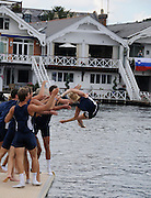 Henley, Great Britain.  Henley Royal Regatta. University of California, Berkeley, USA, M8+, celebrate, with the traditional ritual, of tossing the Cox in the Thames, after winning the Temple Challenge Cup. River Thames Henley Reach.  Royal Regatta. River Thames Henley Reach.  Sunday  03/07/2011  [Mandatory Credit  Karon Phillips/ Intersport Images] . HRR