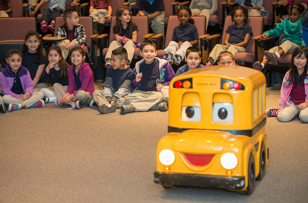 """Houston ISD Transportation staff give a presentation on school bus safety with the help of """"Buster the School Bus"""" at Elmore Elementary School, March 11, 2014."""