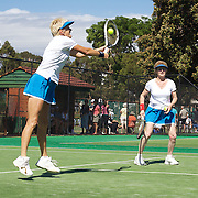 Elizabeth Allan, Australia, and Kerry Ballard, Australia, winning the 60 Womens Doubles during the 2009 ITF Super-Seniors World Team and Individual Championships at Perth, Western Australia, between 2-15th November, 2009.