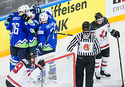Players of Slovenia celebrate after Jan Urbas of Slovenia scored second goal for Slovenia during the 2017 IIHF Men's World Championship group B Ice hockey match between National Teams of Slovenia and Canada, on May 7, 2017 in Accorhotels Arena in Paris, France. Photo by Vid Ponikvar / Sportida