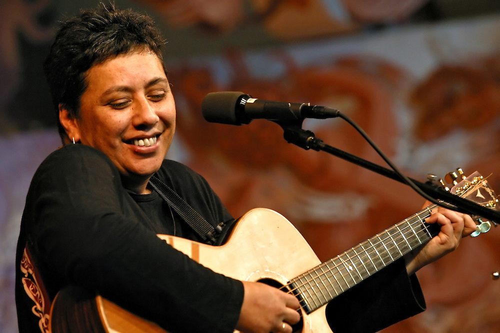 Mahinarangi Tocker performs at Te Papa Marae in Wellington on Saturday 28 June 2003.