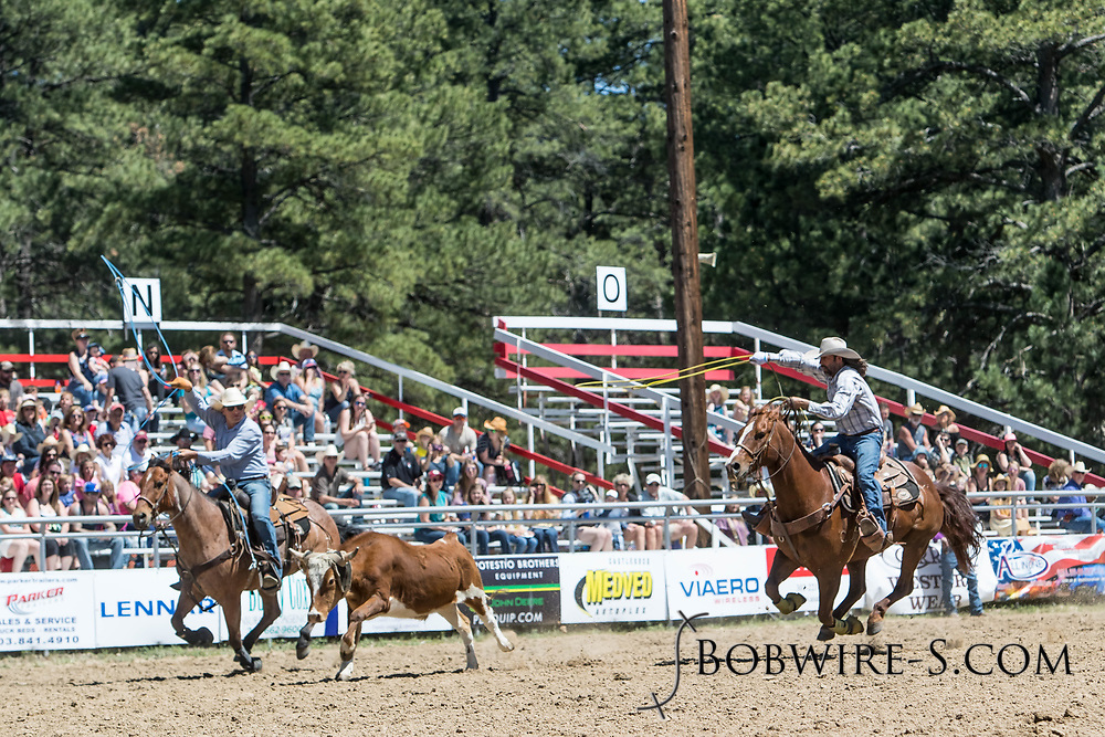 Header Justin Price and heeler Jesse Jolly make their team roping run in the first performance of the Elizabeth Stampede on Saturday, June 2, 2018.