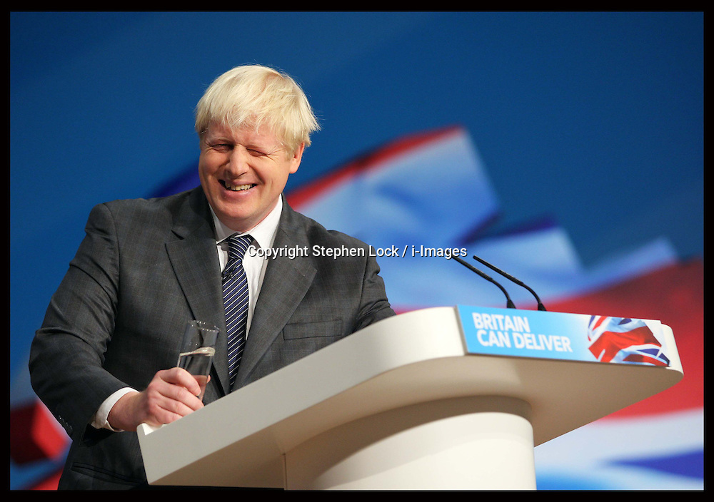Mayor of London Boris Johnson speech  at the Conservative Party Conference in Birmingham, Tuesday, 9th October 2012. Photo by: Stephen Lock / i-Images